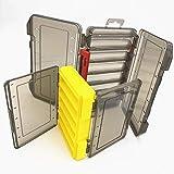 behone 2 piezas Caja de Aparejos de Plástico de Doble Caja de Almacenamiento para Señuelos, ideal para almacenar señuelos de pesca, caja de almacenamiento con agujeros de drenaje, dimensiones