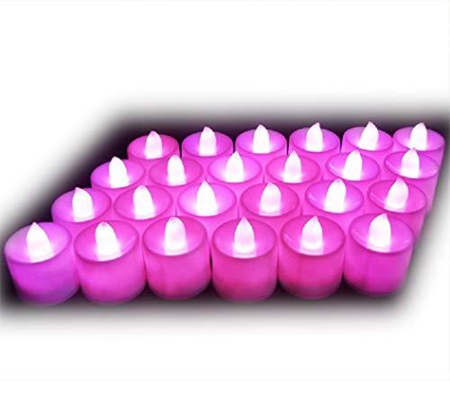 Lot de 24pcs Bougies LED à Piles sans Flamme, Réaliste et Bright, LED Lumières de Thé - Fausses Bougies électriques pour Votive, Table Party Anniversaire Mariage Noël Arbre de noël Rose