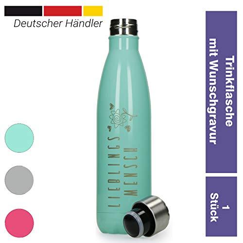 elasto Personalisierte Auslaufsichere Trinkflasche aus Edelstahl mit Namen 500 ml Kohlensäure geeignete Doppelwandige Thermosflasche Vakuum Isoliert, Muttertagsgeschenk