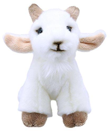 Lashuma Flauschiges Ziegen Plüschtier Weiß, Kuscheltier Geiß vom Bauernhof 15 cm, Kleines Sitzendes Stofftier Zicklein