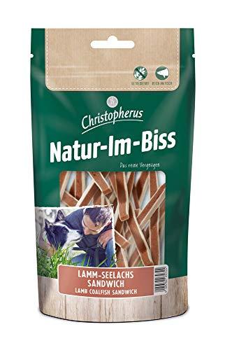 Christopherus Kausticks für Hunde, Lamm-Seelachs-Sandwich, Warmluftgetrocknet, Natur-Im-Biss, 70 g