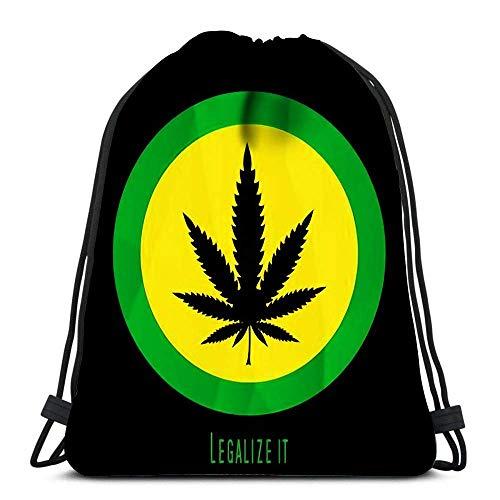 Bigtige Mochila con cordón Bolsa Mochila Deportiva de Gran Capacidad Mochila Escolar 14.5 `` x 16.5 '' Pulgadas Leaf Rastafarian
