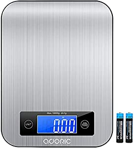 ADORIC Báscula Digital para Cocina de Acero Inoxidable, Balanza de Alimentos Multifuncional 10kg, Peso de Cocina, Color Plata (Baterías Incluidas) (Metal)