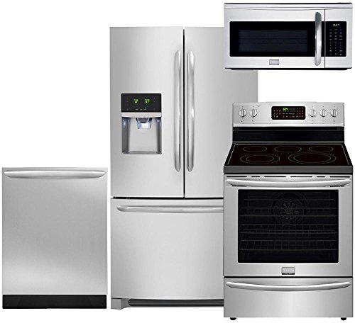 """Frigidaire 4-Piece Smudge Proof Stainless Steel Set with FGHF2366PF 36"""" French Door Refrigerator, FGEF3058RF 30"""" Electric Range, FGID2466QF 24"""" Dishwasher and FGMV175QF 30"""" Over-the-Range Microwave"""