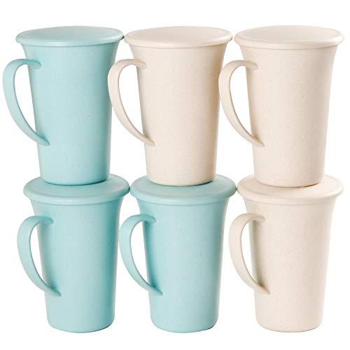 Shopwithgreen Weizenstroh Tasse|6er 460 ml Teetasse mit Deckel aus Weizenstrohfaser,Unzerbrechliche Becher, Trinkbecher,Kaffeetassen für Wasser, Kaffee, Milch |Spülmaschinen-und mikrowellengeeignet