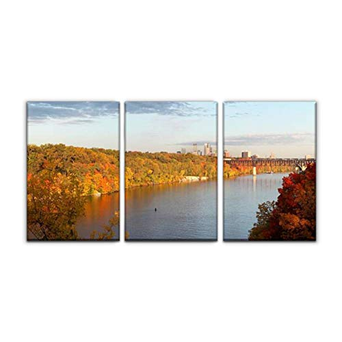 Gracelapin Modern Canvas Painting Minneapolis Skyline Mississippi River arounds and Pictures Wall Art Artwork Decor Printed Oil Painting Landscape Home Office Bedroom Framed Decor (16'x24'x3pcs)