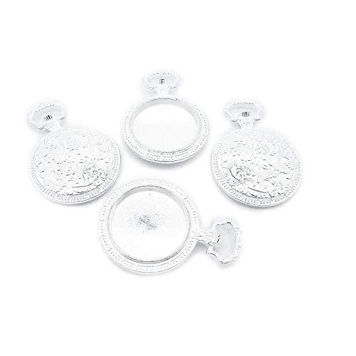 D4IY4G - Abalorio de plata envejecida para joyería, diseño de cabujón antique...