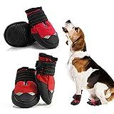 AQH Zapatos Perro, 4 Pcs Zapatos para Perros Botas, Impermeables para Perros Botines Antideslizante y elástica Resistente para Mediano y Grandes Perros (6#, Rojo)