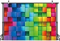 新しい7x5FT鮮やかなルービックキューブの女の子の背景漫画の色ルービックキューブの子供たちお誕生日おめでとう写真の背景ベビーショーパーティー用品新生児の肖像画の装飾バナーCP-217
