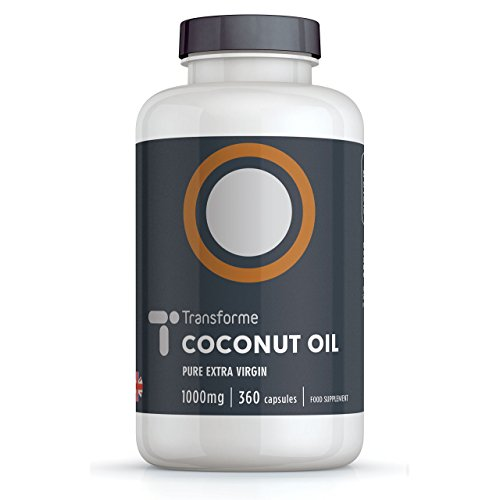 Coconut Oil Capsules 1000mg Extra Virgin, 360 Softgels, Cold Pressed Oil Potency, Gluten Free, Trans-Fat Free, by Transforme