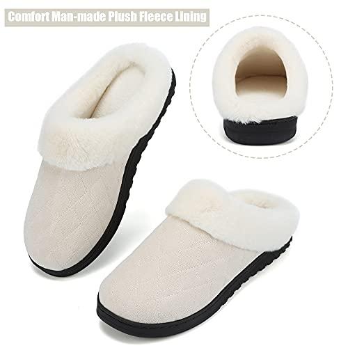 VTASQ Zapatillas de Estar Mujer Invierno Zapatillas Casa de Espuma Viscoelástica CáLido Antideslizantes Pantuflas de Interior y Exterior Beige 42/43
