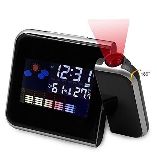 Digital LED Projektion Wecker Wetter Thermometer Snooze Hintergrundbeleuchtung Kalender, Projektor Dimmbare Uhr Doppelalarme Anzeige Datum Uhrzeit Temperatur (Black)