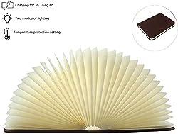 STAR-LINK Hölzerne Faltende Buch Lampe, Wiederaufladbare LED Buchlampe Große Magnetisches Dekorative Lichter 2000mah USB Buchform Nachtlicht Papier Holz Einband 360° Faltbar für Kinder Christams Gift