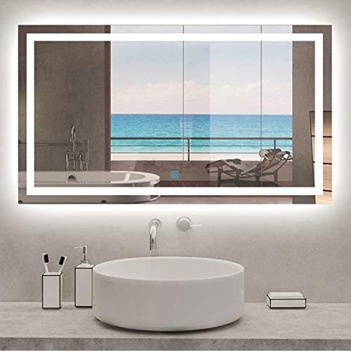 AICA SANITARIOS Espejo de baño 90x60 cm Espejo led - Interruptor Táctil - Función Anti-Niebla - Frío Blanco (6000K) - Espejo de Pared - Espejo con iluminación
