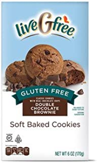liveGfree Gluten Free Double Chocolate Brownie Soft Baked Cookies 6oz, pack of 1