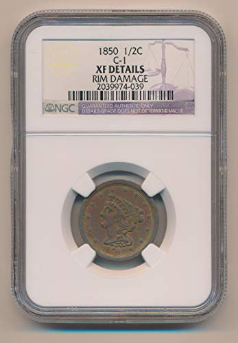 1850 P Braided Hair Half Cent XF Details NGC
