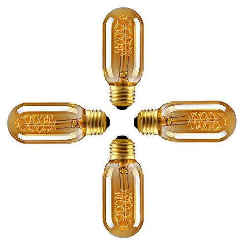 SidiOutil 4 Stk. T45 Edison Glühbirnen 40W Vintage Glühbirne, Dimmbare Glühbirne, Glühlampe 220 V, E27 Sockel Glühbirnen für Restaurant Home Office Leuchten Dekorativ (T45 Spiral 4 Pack)