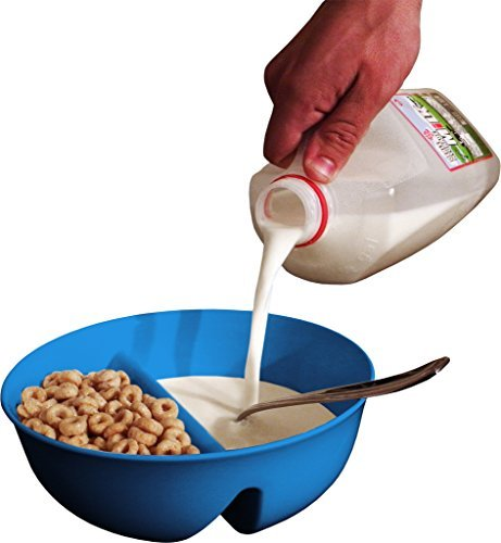 Just Crunch Anti-Soggy Bowl! For Cereal/Milk, Veggies/Dip, Fries/Ketchup and More! - Blue by Just Solutions!