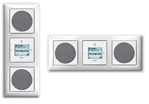 Busch Jäger Unterputz WLAN iNet Internet Radio 8216 U (8216U) Komplett-Set im eleganten Balance SI // 2 x Lautsprecher + Radioeinheit + Abdeckungen + 3 fach Rahmen