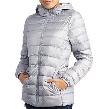 Alpine Swiss Eva Womens Down Alternative Puffer Jacket Hooded Light Packable Coat GRY 1XL