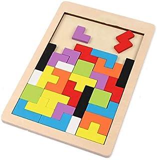 Mumoo Bear Wooden Tetris Puzzle Brain Teasers Toy Tangram Jigsaw Intelligence Colorful 3D Russian Blocks Game