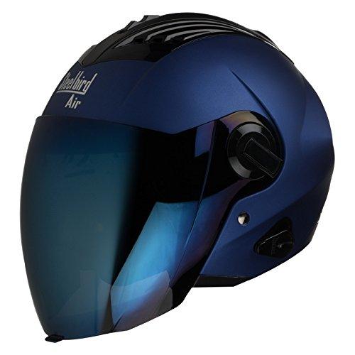 Steelbird SBA-3 Matt Full Face Helmet with Iridium Blue Visor (Blue, 600...