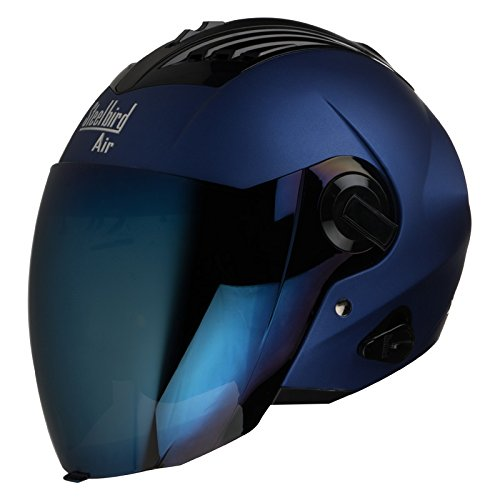 Steelbird SBA-3 Matt Full Face Helmet with Iridium Blue Visor (Blue, 600...