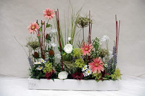 Bloomingdeel Seidenblumengesteck Textilblumengesteck Gesteck Landhaus Rose Kunstblumengesteck Seidenblumen Lavendel