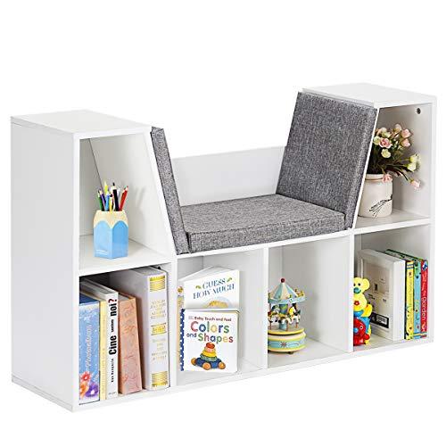 COSTWAY Bücherregal mit Kissen, Raumteiler Bücherschrank 6 Fächer, Regal Würfelregal Standregal Aktenregal Aufbewahrungsregal Holzregal 103x30x63cm (Weiß)