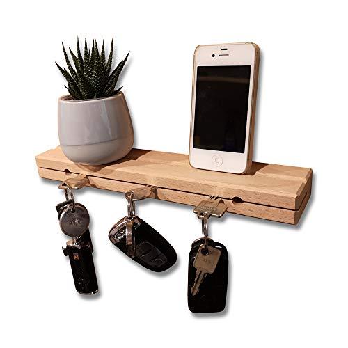AVEELO Schlüsselbrett aus Holz Buche massiv unbehandelt 30x6x3cm Schlüsselhalter in Schwebeoptik Schlüsselboard Schlüsselleiste Schlüßelbrett (Buche mit Nut)