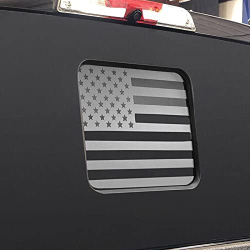 USA American Flag Vinyl Decal Rear Back Middle Sliding Window Flag Sticker with and Fits Ford F150, F250, F350,Matte Black