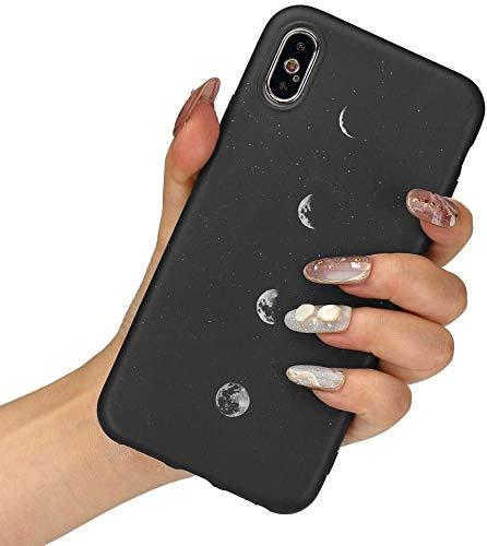 LCHULLE Handyhülle für iPhone X/Xs Hülle Gänseblümchen Anti-Fingerabdruck Schutzhülle Ultradünn Mond Silikon Hülle TPU Bumper Hülle Cover Schutz Tasche Schale Mond