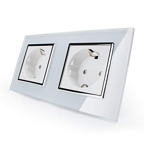 Doppel Steckdose Livolo Elektrischer Steckdosen EU 2-polig + Erde Verbindung zu schrauben 16A Weiß
