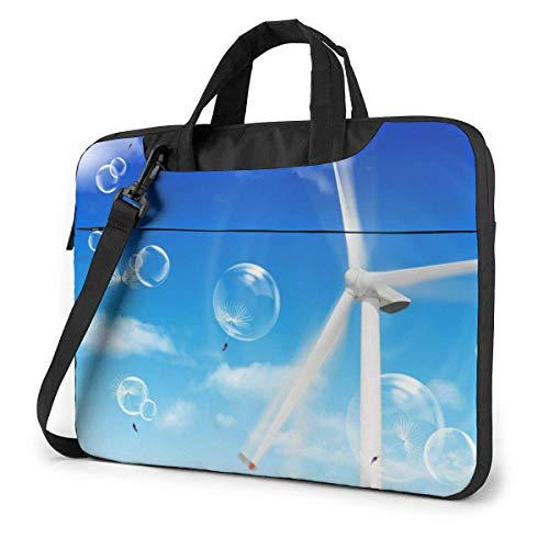 Laptop Shoulder Bag Carrying Laptop Case 14 Inch, Windmill Pattern Computer Sleeve Cover with Handle, Business Briefcase Protective Bag for Ultrabook, MacBook, Asus, Samsung, Sony, Notebook