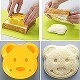 BASOYO Lindo Mini Oso Forma Sandwich Cutters Formas Set para Niños Plástico Bento Sandwich Cutters Moldes