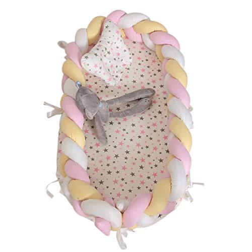 TONGJI Babynest knuffelnest babynestje multifunctioneel opvouwbaar bed draagbaar met afneembare weven omheining babybed reisbed geheel katoen zacht 0-24 maanden 90 x 55 x 15cm wit, geel en roze.
