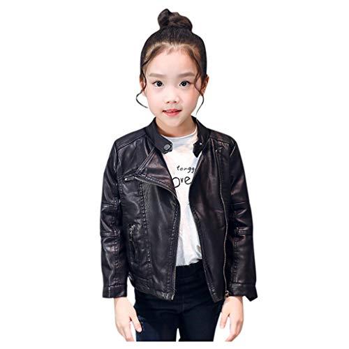 Jungen Mädchen Lederjacke Kinder Kragen Motorrad Bikerjacke Fashion Herbst Winter Pu Leather Jacket Kurze Kleidung Reißverschluss Bikers Mantel Ledermantel Freizeitjacke