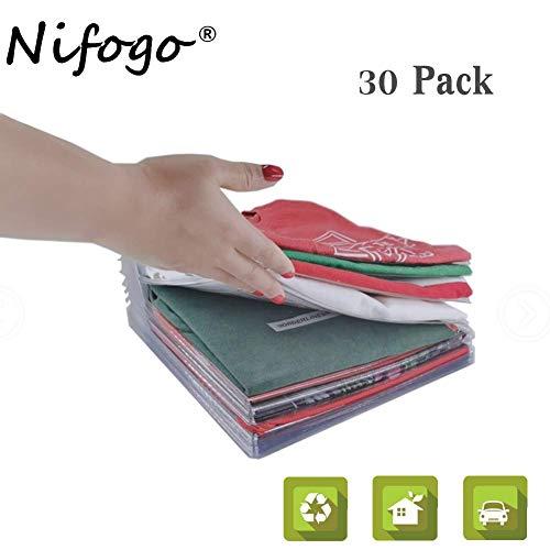 Nifogo Closet Kleiderschrank Organizer, T Shirt Organizer Folder, Schubladen Organizer Schnelle Wäsche Organizer Transparent Board Regal T-Shirt Faltbrett,Normale Größe (30 Pack)