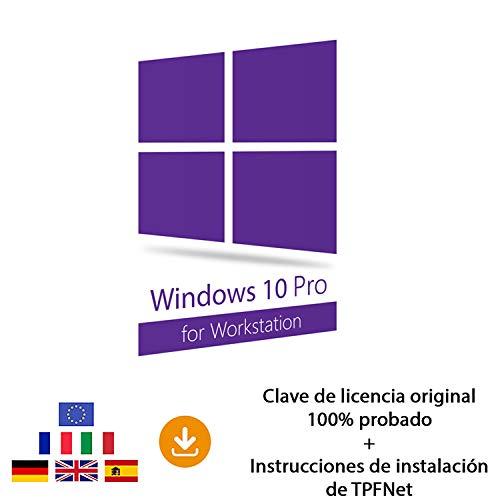 MS Windows 10 Pro Workstation 32 Bits y 64 Bits - Clave de Licencia Original por Correo Postal y Electrónico + Instrucciones de TPFNet® - Envío Máximo 60min