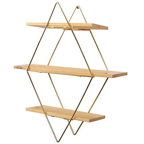 Estante decorativo de pared montado 3 niveles prisma unidad rack estantes flotantes (dorado)