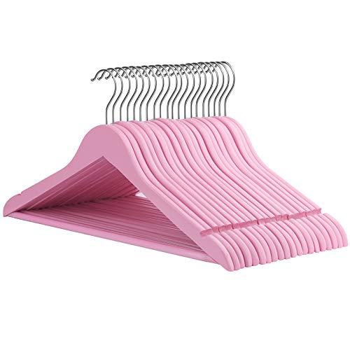 SONGMICS Kleiderbügel aus Massivholz, 20 Stück, Holzbügel mit rutschfestem Hosensteg und Einkerbungen, um 360° drehbarer Haken, für...