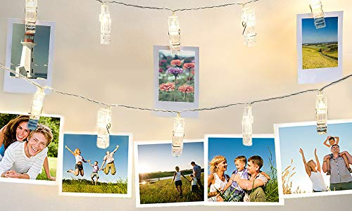 CUQOO 10 or 40 LED Battery Operated Photo Peg String Lights Hanging Picture Clips (40 LED)