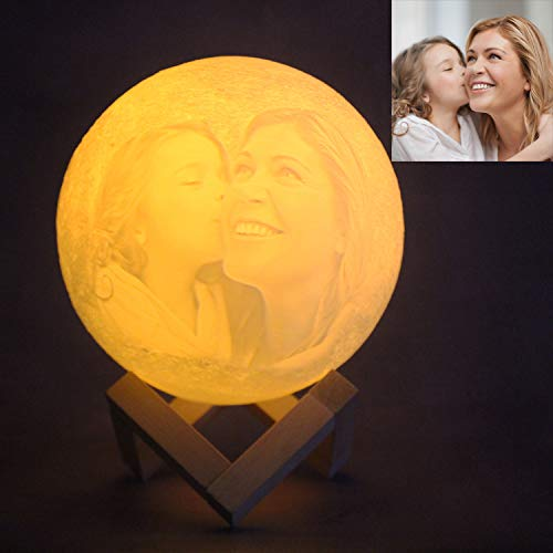 Lámpara de luna Luz de luna personalizada Luz de noche LED impresa en 3D con soporte Control táctil remoto para el amante de la familia del bebé Como regalo del día de San Valentín 4.7 3 colores