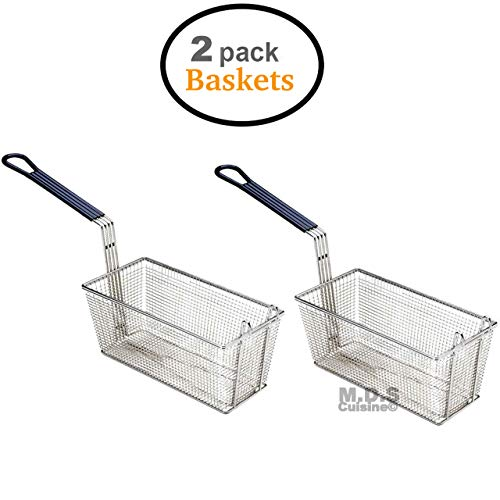 "Baskets Frying 2 Deep Fryer Commercial Heavy Duty Stainless Steel Wired 13""L x 6.5""W x 6""H"
