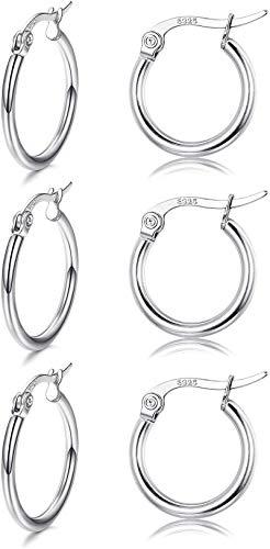 Adramata 3 pares de pendientes de aro pequeños redondos de plata de ley para mujeres y niñas, pendientes unisex ligeros con cierre de clic hipoalergénico