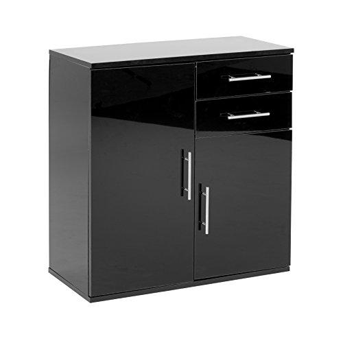 Mueble aparador, armario de almacenaje para comedor o sala de estar con iluminación LED, acabado brillante