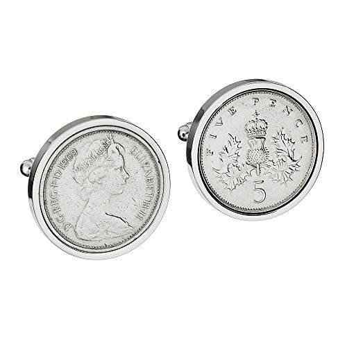 52nd Birthday Gift for Men - LARGE 1969 English LARGE 5P Cufflinks - Genuine 1969 Coins - VERY LARGE COINS - OLD 5P COINS 23MM IN SIZE ***