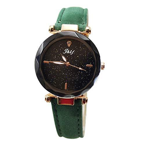 Evansamp Damen-Armbanduhr, mit Diamanten, Schlichter Diamant-Spiegel, Wolle, Leder, Schnalle, grün (Grün) - Evansamp20113