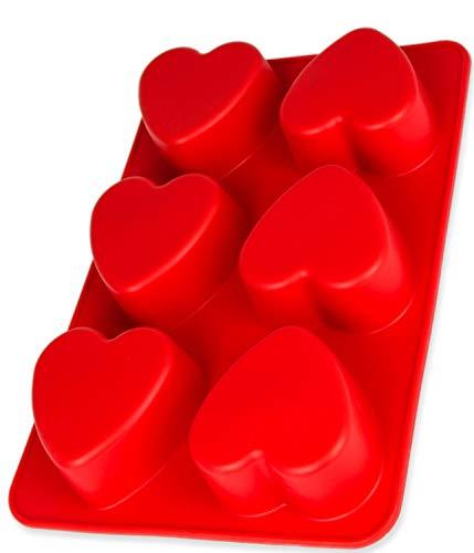 Silikonform mit Herzen, Muffin Silikinform, Silikonform Muffins, Cupcake Formen, Brownies, Cupcake, riesige Eiswürfel, Valentinstag, Brötchen Backform, Seife, Farbe: Rot