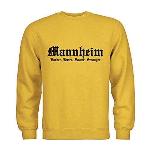 MDMA Sweatshirt Mannheim Harder, Better, Faster, Stronger N14-mdma-s00326-151 Textil gold / Motiv schwarz Gr. S